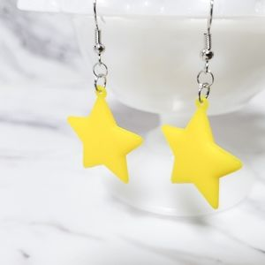 Vintage 1980's Star Bell Charm Kitsch Toy Earrings